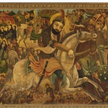 <p>Abbas Al-Musavi. <i>Battle of Karbala</i>, late 19th–early 20th century. Oil on canvas, 72 x 118in. (182.9 x 299.7cm). Brooklyn Museum, Gift of K. Thomas Elghanayan in honor of Nourollah Elghanayan, 2002.6</p>