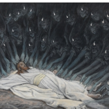 <p>James Tissot (French, 1836–1902). <i>Jesus Ministered to by Angels</i>, 1886–94. Opaque watercolor over graphite on gray wove paper, 6<sup>11</sup>⁄<sub>16</sub> x 9<sup>3</sup>⁄<sub>4</sub> in. (17 x 24.8 cm). Brooklyn Museum, Purchased by public subscription, 00.159.54</p>