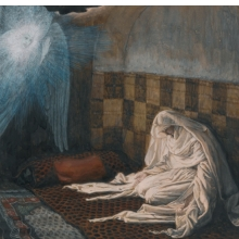 <p>James Tissot (French, 1836–1902). <i>The Annunciation</i>, 1886–94. Opaque watercolor over graphite on gray wove paper, 6<sup>11</sup>⁄<sub>16</sub> x 8<sup>9</sup>⁄<sub>16</sub> in. (17 x 21.7 cm). Brooklyn Museum, Purchased by public subscription, 00.159.16</p>