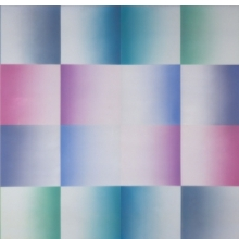 <p>Judy Chicago (American, b. 1939). <i>Silver Blue Fan</i>, from <i>Fresno Fans</i> series, 1971. Sprayed acrylic on sheet acrylic, 60 x 120 in. (152.4 x 304.8 cm). Collection of Schaeffer Projects. © Judy Chicago. Photo © Donald Woodman</p>