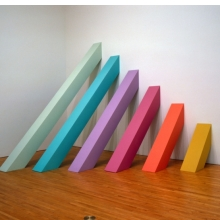 <p>Judy Chicago (American, b. 1939). <i>Rainbow Pickett</i>, 1965/2004. Latex paint on canvas-covered plywood, 126 x 126 x 110 in. (320 x 320 x 279.4 cm). Collection of David and Diane Waldman, Waldman Family Trust, Rancho Mirage, California. © Judy Chicago. Photo © Donald Woodman</p>