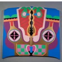 <p>Judy Chicago (American, b. 1939). <i>Birth Hood</i>, 1965/2011. Sprayed automotive lacquer on car hood, 42<sup>7</sup>⁄<sub>8</sub> x 42<sup>7</sup>⁄<sub>8</sub> x 4<sup>5</sup>⁄<sub>16</sub> in. (109 x 109 x 10.9 cm). Courtesy of the artist. © Judy Chicago. Photo © Donald Woodman</p>