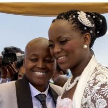 <p>Zanele Muholi (South African, born 1972). <i>Ayanda & Nhlanhla Moremi's wedding I. Kwanele Park, Katlehong, 9 November 2013</i>, 2013. Chromogenic photograph, 10<sup>7</sup>⁄<sub>16</sub> x 14<sup>9</sup>⁄<sub>16</sub> in. (26.5 x 37 cm), framed. © Zanele Muholi. Courtesy of Stevenson, Cape Town/Johannesburg and Yancey Richardson, New York</p>