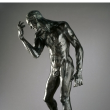 <p>Auguste Rodin (French, 1840&ndash;1917). <i>Pierre de Wiessant, Monumental Nude (Pierre de Wissant, nu monumental)</i>, 1886, cast 1983. Bronze, 78<sup>1</sup>&frasl;<sub>4</sub> x 44<sup>3</sup>&frasl;<sub>4</sub> x 36<sup>1</sup>&frasl;<sub>2</sub> in. (198.8 &times; 113.7 &times; 92.7 cm). Brooklyn Museum, Gift of the B. Gerald Cantor Collection, 86.310</p>