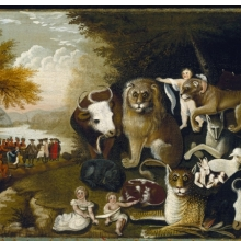 Edward Hicks (American, 1780–1849). The Peaceable Kingdom, circa 1833–34. Oil on canvas, 177⁄16 x 239⁄16 in. (44.3 × 59.8 cm). Brooklyn Museum, Dick S. Ramsay Fund, 40.340