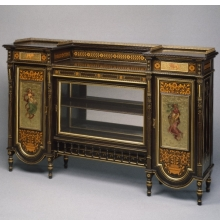 <p><i>Cabinet</i>. Herter Brothers (American, 1865&ndash;1905). New York, circa 1875. Ebonized cherry, paint, inlay, 42 <sup>3</sup>&frasl;<sub>8</sub> x 66 &times; 16<sup>3</sup>&frasl;<sub>4</sub> in. (107.7 &times; 167.7 &times; 42.5 cm). Brooklyn Museum, H. Randolph Lever Fund, 76.63a&ndash;f</p>