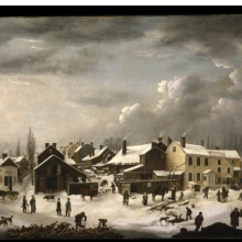 <p>Francis Guy (American, 1760&ndash;1820). <i>Winter Scene in Brooklyn</i>, circa 1819&ndash;20. Oil on canvas, 58<sup>3</sup>&frasl;<sub>8</sub> x 74<sup>9</sup>&frasl;<sub>16</sub> in. (148.2 &times; 189.4 cm). Brooklyn Museum, Gift of the Brooklyn Institute of Arts and Sciences, 97.13</p>
