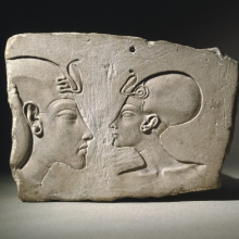 "<p><em>The Wilbour Plaque</em>. Egypt, probably from Akhetaten (""Horizon of the Aten""), modern Amarna. New Kingdom, Dynasty 18, reign of Akhenaten, probably late in his reign, circa 1352–1336 <small>B.C.E.</small> Limestone, 6<sup>3</sup>⁄<sub>16</sub> x 8<sup>11</sup>⁄<sub>16</sub> x 1<sup>5</sup>⁄<sub>8</sub> in. (15.7 × 22.1 × 4.1 cm). Brooklyn Museum, Gift of Evangeline Wilbour Blashfield, Theodora Wilbour, and Victor Wilbour honoring the wishes of their mother, Charlotte Beebe Wilbour, as a memorial to their father, Charles Edwin Wilbour, 16.48</p>"