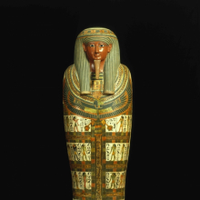 <p><em>Cartonnage of Nespanetjerenpere</em>. Egypt, probably from Thebes. Third Intermediate Period, Dynasty 22 to early Dynasty 25, circa 945–718 <small>B.C.E.</small> Linen or papyrus mixed with plaster, pigment, glass, lapis lazuli, height: 69<sup>11</sup>⁄<sub>16</sub> in. (177 cm). Brooklyn Museum, Charles Edwin Wilbour Fund, 35.1265</p>