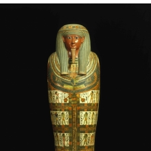 <p><em>Cartonnage of Nespanetjerenpere</em>. Egypt, probably from Thebes. Third Intermediate Period, Dynasty 22 to early Dynasty 25, circa 945&ndash;718 <small>B.C.E.</small> Linen or papyrus mixed with plaster, pigment, glass, lapis lazuli, height: 69<sup>11</sup>&frasl;<sub>16</sub> in. (177 cm). Brooklyn Museum, Charles Edwin Wilbour Fund, 35.1265</p>
