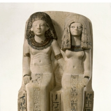<p><em>Pair Statue of Nebsen and Nebet-ta</em>. Egypt, possibly from Dahamsha. New Kingdom, Dynasty 18, early in the reign of Amunhotep III, circa 1400&ndash;1352 <small>B.C.E.</small> Limestone, painted, 15<sup>3</sup>&frasl;<sub>4</sub> x 8<sup>9</sup>&frasl;<sub>16</sub> x 9<sup>1</sup>&frasl;<sub>4</sub> in. (40 &times; 21.8 &times; 23.5 cm). Brooklyn Museum, Charles Edwin Wilbour Fund, 40.523</p>