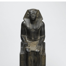 <p><em>Senwosret III</em>. Egypt, from Hierakonpolis. Middle Kingdom, Dynasty 12, reign of Senwosret III, circa 1836&ndash;1818 <small>B.C.E.</small> Granite, 21<sup>7</sup>&frasl;<sub>16</sub> x 7<sup>1</sup>&frasl;<sub>2</sub> x 13<sup>11</sup>&frasl;<sub>16</sub> in. (54.5 &times; 19 &times; 34.7 cm). Brooklyn Museum, Charles Edwin Wilbour Fund, 52.1</p>