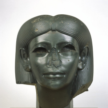 <p><em>Head from a Female Sphinx</em>. Found in Italy, said to have been in the ruins of Emperor Hadrian's villa at Tivoli, outside Rome; originally from Egypt, probably Heliopolis. Middle Kingdom, Dynasty 12, reign of Amunemhat II, circa 1876–1842 <small>B.C.E.</small> Chlorite, 15<sup>5</sup>⁄<sub>16</sub> x 13<sup>1</sup>⁄<sub>8</sub> x 13<sup>15</sup>⁄<sub>16</sub> in. (38.9 × 33.3 × 35.4 cm). Brooklyn Museum, Charles Edwin Wilbour Fund, 56.85</p>