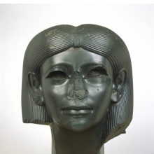 <p><em>Head from a Female Sphinx</em>. Found in Italy, said to have been in the ruins of Emperor Hadrian&rsquo;s villa at Tivoli, outside Rome; originally from Egypt, probably Heliopolis. Middle Kingdom, Dynasty 12, reign of Amunemhat II, circa 1876&ndash;1842 <small>B.C.E.</small> Chlorite, 15<sup>5</sup>&frasl;<sub>16</sub> x 13<sup>1</sup>&frasl;<sub>8</sub> x 13<sup>15</sup>&frasl;<sub>16</sub> in. (38.9 &times; 33.3 &times; 35.4 cm). Brooklyn Museum, Charles Edwin Wilbour Fund, 56.85</p>
