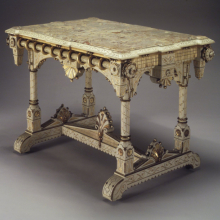 <p><i>Center Table</i>. Made by Allen & Brother (1847–1902). Philadelphia, Pennsylvania, circa 1875. Cherry, marble, 31<sup>5</sup>⁄<sub>8</sub> x 44<sup>3</sup>⁄<sub>4</sub> x 29<sup>1</sup>⁄<sub>4</sub> in. (80.3 × 113.7 × 74.3 cm). Brooklyn Museum, Marie Bernice Bitzer Fund, 1994.153</p>