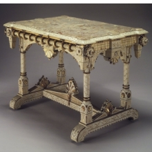 <p><i>Center Table</i>. Made by Allen &amp; Brother (1847&ndash;1902). Philadelphia, Pennsylvania, circa 1875. Cherry, marble, 31<sup>5</sup>&frasl;<sub>8</sub> x 44<sup>3</sup>&frasl;<sub>4</sub> x 29<sup>1</sup>&frasl;<sub>4</sub> in. (80.3 &times; 113.7 &times; 74.3 cm). Brooklyn Museum, Marie Bernice Bitzer Fund, 1994.153</p>