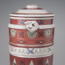 <p><i>Water Filter</i>. Made by Union Porcelain Works (1863–circa 1922). Greenpoint, Brooklyn, circa 1885. Porcelain, 20 × 12<sup>1</sup>⁄<sub>2</sub> x 11<sup>1</sup>⁄<sub>2</sub> in. (50.8 × 31.8 × 29.2 cm). Brooklyn Museum, bequest of Marie Bernice Bitzer, by exchange, 1995.143.1a–c</p>