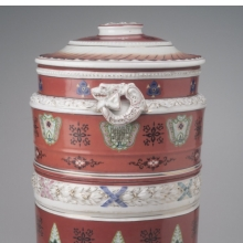 <p><i>Water Filter</i>. Made by Union Porcelain Works (1863&ndash;circa 1922). Greenpoint, Brooklyn, circa 1885. Porcelain, 20 &times; 12<sup>1</sup>&frasl;<sub>2</sub> x 11<sup>1</sup>&frasl;<sub>2</sub> in. (50.8 &times; 31.8 &times; 29.2 cm). Brooklyn Museum, bequest of Marie Bernice Bitzer, by exchange, 1995.143.1a&ndash;c</p>