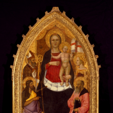 <p>Nardo di Cione (Italian, Florentine, active 1343&ndash;1356/1366). <em>Madonna and Child Enthroned with Saints Zenobius, John the Baptist, Reparata, and John the Evangelist</em>, mid-14th century. Tempera and tooled gold on panel, 77<sup>1</sup>&frasl;<sub>2</sub> x 39<sup>1</sup>&frasl;<sub>2</sub> in. (196.9 &times; 100.3 cm). Brooklyn Museum, Healy Purchase Fund B; Gift of Mrs. S. S. Auchincloss, James A. H. Bell, Mrs. Tunis G. Bergen, Mrs. Arthur Blake, Leonard Block, Mary A. Brackett, Mrs. Charles Bull in memory of Noel Joseph Becar, Sidney Curtis, Mrs. Watson B. Dickerman, Forrest Dryden, the estate of George M. Dunaif, Marion Gans, Francis Gottsberger in memory of his wife, Eliza, bequest of Anne Halstead, Mrs. William H. Haupt, A. Augustus Healy, William H. Herriman, Mrs. Alexander Howe, Julian Clarence Levi, the Martin estate, bequest of Emilie Henriette Mayr in memory of her brother and sister-in-law, Mr. and Mrs. George Mayr, Mrs. Richard Norsam Meade in memory of Margery Moyca Newell, Bernard Palitz, Richman Proskauer, Charles A Schieren, the estate of Isabel Shults, Mr. and Mrs. Daniel H. Silberberg, Austin Wolf, Mrs. Hamilton Wolf, and Mrs. Henry Wolf, by exchange, 1995.2</p>