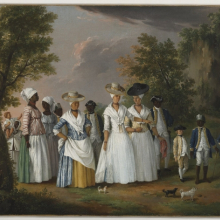 <p>Agostino Brunias (Italian, circa 1730&ndash;1796). <em>Free Women of Color with their Children and Servants in a Landscape</em>, circa 1764&ndash;96. Oil on canvas, 20 &times; 26<sup>1</sup>&frasl;<sub>8</sub> in. (50.8 &times; 66.4 cm). Brooklyn Museum, Gift of Mrs. Carll H. de Silver in memory of her husband, by exchange and gift of George S. Hellman, by exchange, 2010.59</p>