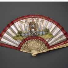 Unknown artist. Fan, 1822–31. Ivory sticks and painted paper mount, open: 121⁄2 x 23 in. (31.8 × 58.4 cm). Brooklyn Museum, Gift of Millicent V. Hearst, 62.184.47