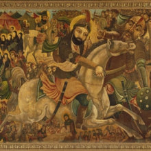 <p>Abbas Al-Musavi. <i>Battle of Karbala</i>, late 19th–early 20th century. Oil on canvas, 72 × 118 in. (182.9 × 299.7cm). Brooklyn Museum, Gift of K. Thomas Elghanayan in honor of Nourollah Elghanayan, 2002.6</p>