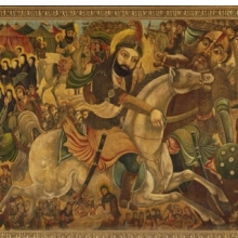<p>Abbas Al-Musavi. <i>Battle of Karbala</i>, late 19th&ndash;early 20th century. Oil on canvas, 72 &times; 118 in. (182.9 &times; 299.7cm). Brooklyn Museum, Gift of K. Thomas Elghanayan in honor of Nourollah Elghanayan, 2002.6</p>