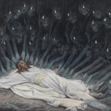 <p>James Tissot (French, 1836–1902). <i>Jesus Ministered to by Angels</i>, 1886–94. Opaque watercolor over graphite on gray wove paper, 6<sup>11</sup>⁄<sub>16</sub> x 9<sup>3</sup>⁄<sub>4</sub> in. (17 × 24.8 cm). Brooklyn Museum, Purchased by public subscription, 00.159.54</p>