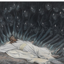 <p>James Tissot (French, 1836&ndash;1902). <i>Jesus Ministered to by Angels</i>, 1886&ndash;94. Opaque watercolor over graphite on gray wove paper, 6<sup>11</sup>&frasl;<sub>16</sub> x 9<sup>3</sup>&frasl;<sub>4</sub> in. (17 &times; 24.8 cm). Brooklyn Museum, Purchased by public subscription, 00.159.54</p>