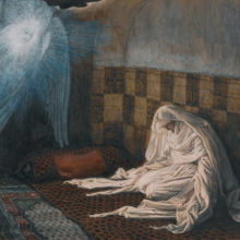 <p>James Tissot (French, 1836–1902). <i>The Annunciation</i>, 1886–94. Opaque watercolor over graphite on gray wove paper, 6<sup>11</sup>⁄<sub>16</sub> x 8<sup>9</sup>⁄<sub>16</sub> in. (17 × 21.7 cm). Brooklyn Museum, Purchased by public subscription, 00.159.16</p>