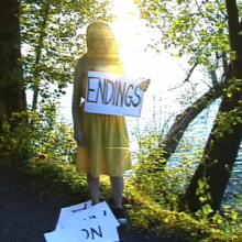 <p>Jen DeNike (American, b. 1971). Still from <i>Happy Endings</i>, 2006. Video, color, sound, 1 min. 5 sec. Courtesy of the artist and Smith-Stewart, New York</p>