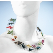 <p>Elsa Schiaparelli (French, born Italy, 1890&ndash;1973). <i>Necklace</i>, autumn 1938. Clear Rhodoid (cellulose acetate plastic); metallic green, red, pink, blue, and yellow painted pressed metal ornaments. Brooklyn Museum Costume Collection at The Metropolitan Museum of Art, Gift of the Brooklyn Museum, 2009; Gift of Arturo and Paul Peralta Ramos, 1955 (2009.300.1234)</p>