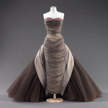 "<p>Charles James (American, born England, 1906–1978). <i>""Butterfly"" Dress</i>, 1955. Smoke gray silk chiffon; pale gray silk satin; aubergine, lavender, and oyster white tulle. Brooklyn Museum Costume Collection at The Metropolitan Museum of Art, Gift of the Brooklyn Museum, 2009; Gift of Mrs. John de Menil, 1957 (2009.300.816)</p>"