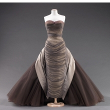 <p>Charles James (American, born England, 1906&ndash;1978). <i>&ldquo;Butterfly&rdquo; Dress</i>, 1955. Smoke gray silk chiffon; pale gray silk satin; aubergine, lavender, and oyster white tulle. Brooklyn Museum Costume Collection at The Metropolitan Museum of Art, Gift of the Brooklyn Museum, 2009; Gift of Mrs. John de Menil, 1957 (2009.300.816)</p>