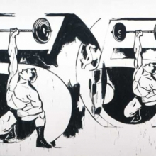 <p>Andy Warhol (American, 1928–1987). <em>Double $5/Weightlifter</em>, 1985–86. Acrylic on linen, 116 × 216<sup>1</sup>⁄<sub>2</sub> in. (294.6 × 549.9 cm). The Andy Warhol Museum, Pittsburgh; Founding Collection, Contribution The Andy Warhol Foundation for the Visual Arts, Inc. © 2010 The Andy Warhol Foundation for the Visual Arts/Artists Rights Society (ARS), New York</p>