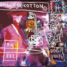 <p>Andy Warhol (American, 1928–1987), Jean-Michel Basquiat (American, 1960–1988), and Francesco Clemente (Italian, b. 1952). <em>Origin of Cotton</em>, 1984. Mixed media on canvas, 50<sup>1</sup>⁄<sub>2</sub> x 71 in. (128 × 180.5 cm). Private Collection, Courtesy Galerie Bruno Bischofberger, Zurich. © 2010 The Andy Warhol Foundation for the Visual Arts/Artists Rights Society (ARS), New York. © 2010 The Estate of Jean-Michel Basquiat/ADAGP, Paris/ARS, NY</p>