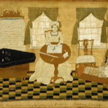 <p>Prudence Punderson (American, 1758–1784). <i>The First, Second, and Last Scene of Mortality</i>, 1776–83. Untwisted silk thread on a plain woven silk ground, frame: 15<sup>9</sup>⁄<sub>16</sub> x 19<sup>11</sup>⁄<sub>16</sub> in. (39.5 &#215; 50 cm). Collection of the Connecticut Historical Society, Hartford, Gift of Newton C. Brainard</p>