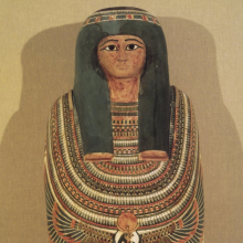 <p><em>Cartonnage and Mummy of Gautseshenu</em>. Egypt, probably from Thebes. Third Intermediate Period, Dynasties 25 to 26, circa 700–650 <small>B.C.E.</small> Linen, paint, gesso, organic materials; 64<sup>3</sup>⁄<sub>16</sub> x 141<sup>5</sup>⁄<sub>16</sub> x 11<sup>1</sup>⁄<sub>2</sub> in. (163 × 38 × 29.2 cm). Brooklyn Museum, Charles Edwin Wilbour Fund, 34.1223</p>