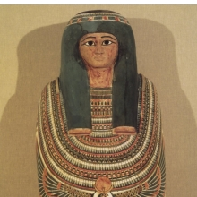 <p><em>Cartonnage and Mummy of Gautseshenu</em>. Egypt, probably from Thebes. Third Intermediate Period, Dynasties 25 to 26, circa 700&ndash;650 <small>B.C.E.</small> Linen, paint, gesso, organic materials; 64<sup>3</sup>&frasl;<sub>16</sub> x 141<sup>5</sup>&frasl;<sub>16</sub> x 11<sup>1</sup>&frasl;<sub>2</sub> in. (163 &times; 38 &times; 29.2 cm). Brooklyn Museum, Charles Edwin Wilbour Fund, 34.1223</p>