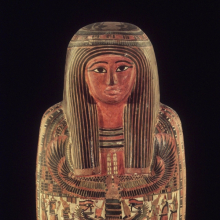 <p><em>Cartonnage and Mummy of the Priest, Hor</em>. Egypt, from Thebes. Third Intermediate Period, second half of Dynasty 25, circa 712–664 <small>B.C.E.</small> Painted linen and gesso, organic materials, 70 × 15 × 18<sup>1</sup>⁄<sub>2</sub> in. (177.8 × 38.1 × 47 cm). Brooklyn Museum, Charles Edwin Wilbour Fund, 37.50E</p>