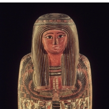 <p><em>Cartonnage and Mummy of the Priest, Hor</em>. Egypt, from Thebes. Third Intermediate Period, second half of Dynasty 25, circa 712&ndash;664 <small>B.C.E.</small> Painted linen and gesso, organic materials, 70 &times; 15 &times; 18<sup>1</sup>&frasl;<sub>2</sub> in. (177.8 &times; 38.1 &times; 47 cm). Brooklyn Museum, Charles Edwin Wilbour Fund, 37.50E</p>