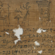 <p><em>Mummy Bandage of Ii-em-hetep, Born of Ta-remetj-hepu</em>. Provenance not known. Ptolemaic Period or later, 332 <small>B.C.E.</small>–1st century <small>C.E.</small> Linen, ink, 3<sup>9</sup>⁄<sub>16</sub> x 39<sup>9</sup>⁄<sub>16</sub> in. (9 × 100.5 cm). Brooklyn Museum, Charles Edwin Wilbour Fund, 37.2039.21E</p>