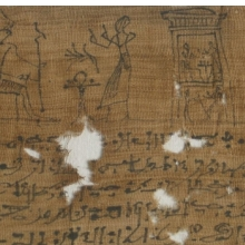 <p><em>Mummy Bandage of Ii-em-hetep, Born of Ta-remetj-hepu</em>. Provenance not known. Ptolemaic Period or later, 332 <small>B.C.E.</small>&ndash;1st century <small>C.E.</small> Linen, ink, 3<sup>9</sup>&frasl;<sub>16</sub> x 39<sup>9</sup>&frasl;<sub>16</sub> in. (9 &times; 100.5 cm). Brooklyn Museum, Charles Edwin Wilbour Fund, 37.2039.21E</p>