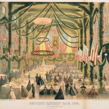 <p><i>Brooklyn Sanitary Fair, 1864: Knickerbocker Hall, </i>from<i> The Manual of the Common Council of the City of Brooklyn</i>, compiled by Henry McClosky (Brooklyn: The Council, 1864). Lithograph by A. Brown & Co., New York, sheet: 14<sup>1</sup>⁄<sub>16</sub> x 16<sup>1</sup>⁄<sub>4</sub> in. (35.7 × 41.2 cm). Brooklyn Museum, Bequest of Samuel E. Haslett, 22.1908</p>