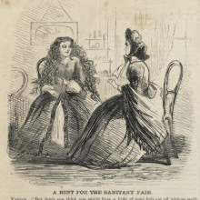 <p>Unknown artist. <i>A Hint for the Sanitary Fair</i>, from <i>Harper's Weekly</i>, March 19, 1864. Engraving, image: 5<sup>1</sup>⁄<sub>2</sub> x 4<sup>3</sup>⁄<sub>4</sub> in. (14 × 12.1 cm). Brooklyn Museum Library Collection, EL72.03</p>