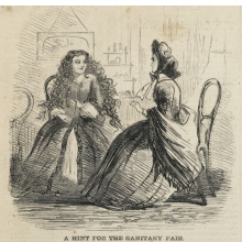 <p>Unknown artist. <i>A Hint for the Sanitary Fair</i>, from <i>Harper's Weekly</i>, March 19, 1864. Engraving, image: 5<sup>1</sup>⁄<sub>2</sub> x 4<sup>3</sup>⁄<sub>4</sub> in. (14 &#215; 12.1 cm). Brooklyn Museum Library Collection, EL72.03</p>