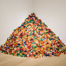 "<p>Félix González-Torres (American, 1957–1996). <em>""Untitled"" (Portrait of Ross in L.A.)</em>, 1991. Candies individually wrapped in multicolored cellophane, endless supply. Overall dimensions vary with installation, ideal weight: 175 lb. The Art Institute of Chicago; promised gift of Donna and Howard Stone. Courtesy of Andrea Rosen Gallery, New York © The Félix González-Torres Foundation</p>"