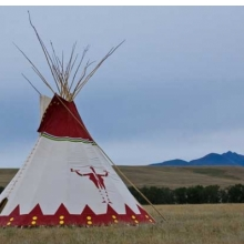 <p>Lyle Heavy Runner (Blackfeet, b. 1958), design owner and painter; Naomi Crawford (Blackfeet, b. 1935), tipi maker. Blackfeet Tipi, 2010. Great Falls, Montana. Canvas, latex paint, wood, h. 27 ft. (838.4 cm). Commissioned for <i>Tipi: Heritage of the Great Plains</i>; Brooklyn Museum, TL2010.89. Photo: Jenny Steven</p>