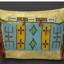 <p>Sioux artist. Storage Bag, late 19th century. Central Plains. Hide, beads, tin cones, horsehair, 15<sup>1</sup>⁄<sub>2</sub> x 20<sup>1</sup>⁄<sub>2</sub> in. (39.4 &#215; 52.1 cm). Brooklyn Museum, Brooklyn Museum Collection, X1111.1</p>