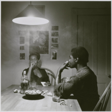 <p>Carrie Mae Weems (American, b. 1953). <em>Untitled (Man Smoking/Malcolm X)</em>, from the <em>Kitchen Table</em> series, 1990. Gelatin silver photograph, sheet: 31<sup>1</sup>⁄<sub>4</sub> x 30<sup>7</sup>⁄<sub>8</sub> in.; image: 27 × 27 in. Brooklyn Museum, Caroline A. L. Pratt Fund, 1991.168</p>